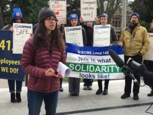 UAW 4121 Board Member Andrea Canini urges the UW to become a Sanctuary Campus