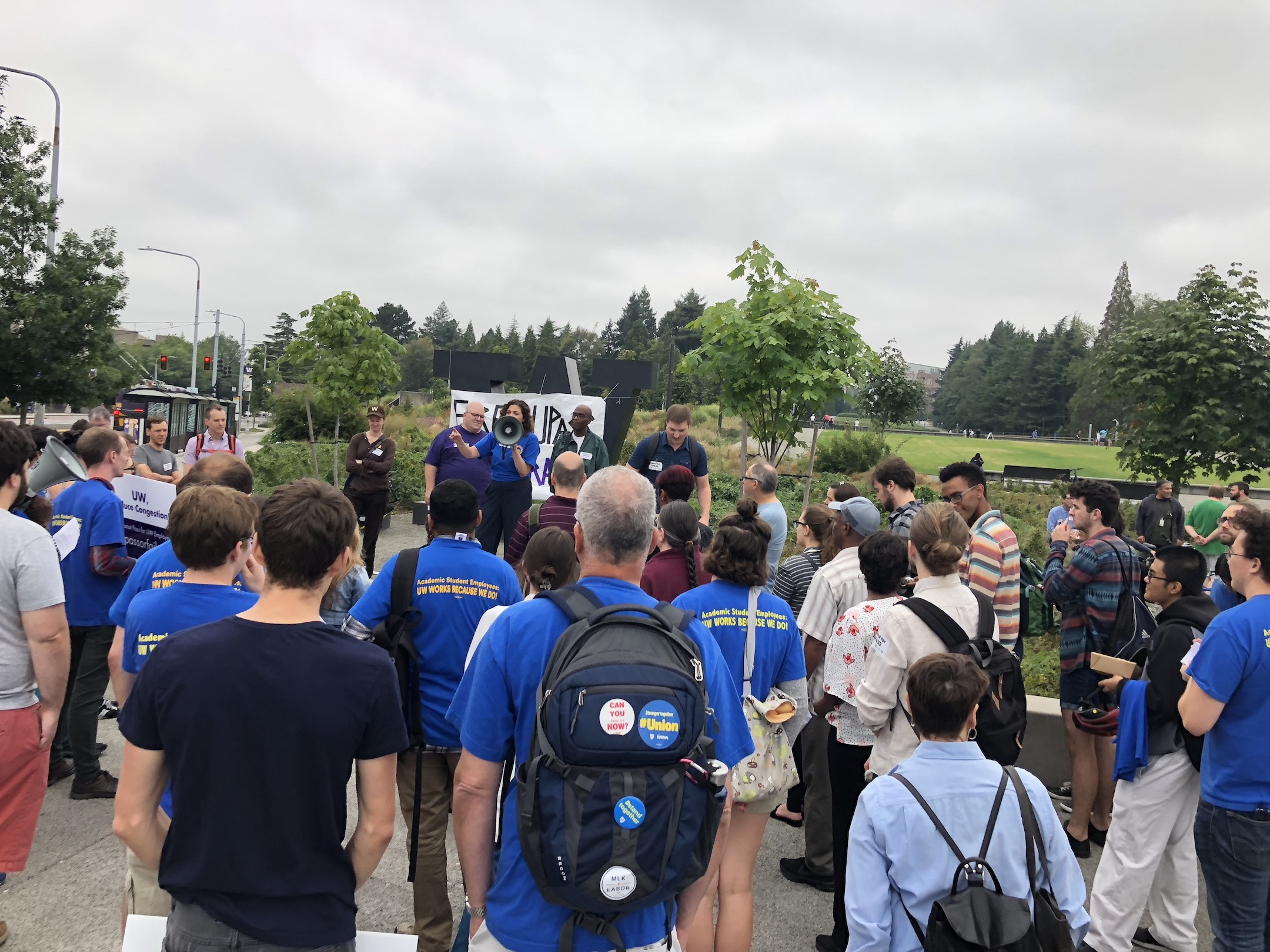 4121 members join union members from across campus for a rally to demand a subsidized UPASS for all