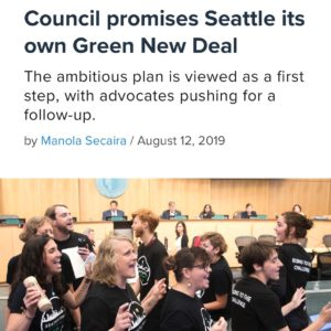 Exciting news yesterday as Seattle City Council unanimously passed a resolution committing to a citywide Green New Deal! Our Local has been on the frontlines fighting with fellow labor and community groups for #climatejusticenow. Check out this article by @crosscut_news for more details (link in bio) and email climatejustice@uaw4121.org to get involved! #SeattleGreenNewDeal #GreenNewDeal #JustTransition #ClimateJustice