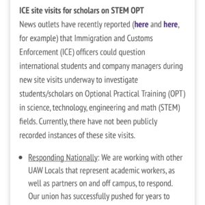 News outlets have recently started reporting that ICE officers may investigate international students/scholars on OPT. ◽️ Though there haven't yet been publicly recorded instances of this, we're working to ensure international students & scholars are protected. ◽️ For more on your rights and how members can get involved, check the link in our bio and join the International Solidarity Work Group! ◽️ #abolishice #internationalsolidarity #unionstrong
