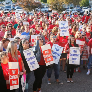 Solidarity with our union siblings at Kennewick Education Association who are striking today, the first day of school, after the school district failed to reach tentative agreement #unionstrong #redfored Coverage from @tricityherald at the link in our bio.