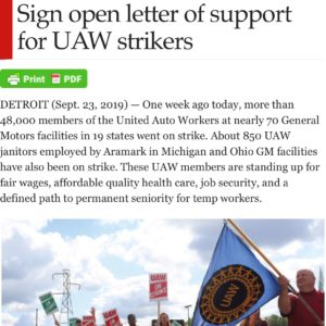 Sign on to this letter today to show your solidarity with our 50,000 UAW family members at GM and Aramark on strike! ✊Click the link in our bio to add your name now #Unionstrong #Solidarity