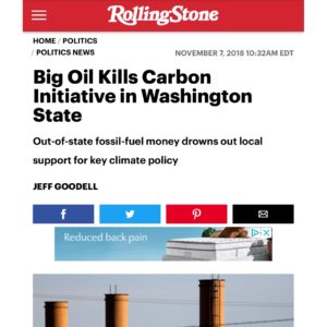 """From 2018: """"The big lesson of the defeat of 1631, if there is one, may be that before we can get carbon out of the atmosphere, we need to get dirty money out of American politics."""" In the past few years in Washington State, we've seen a disturbing trend of small numbers of wealthy donors pouring money into defeating progressive local races and initiatives like I-1631. Now, Amazon and other corporations are pouring money into a pro-business PAC to try to defeat a slate of progressive candidates for Seattle City Council. Check out the full article from @rollingstone at the link in our bio."""