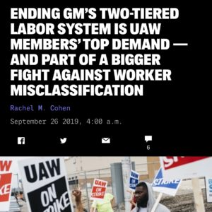 """ncreases in temp workers is """"a trend that we're seeing all over the economy as companies try to shed conventional, full-time employees in favor of independent contractors, subcontracted workers, or franchised employees.""""   🔹 We're facing the same challenges in higher ed and we continue to be in solidarity with our striking UAW family . We'll fight with you until the end! ✊#SolidarityForever #UAWStrike  🔹 Read the full article from @theintercept at the link in our bio."""