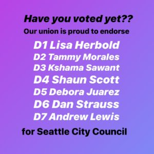 This election is critical for deciding Seattle's future, so get your ballots in today for @d1forlisa @tammymoralesd2 @teamkshama @eyesonthestorm @ballardstrauss ⁠ ✊⁠ For more information about this election -- including why we've endorsed each of these candidates, a full list of our endorsed candidates, information about how to vote, and opportunities to get involved in political action -- check out the link in our bio. ⁠ ✊⁠ #GOTV #2019Elections