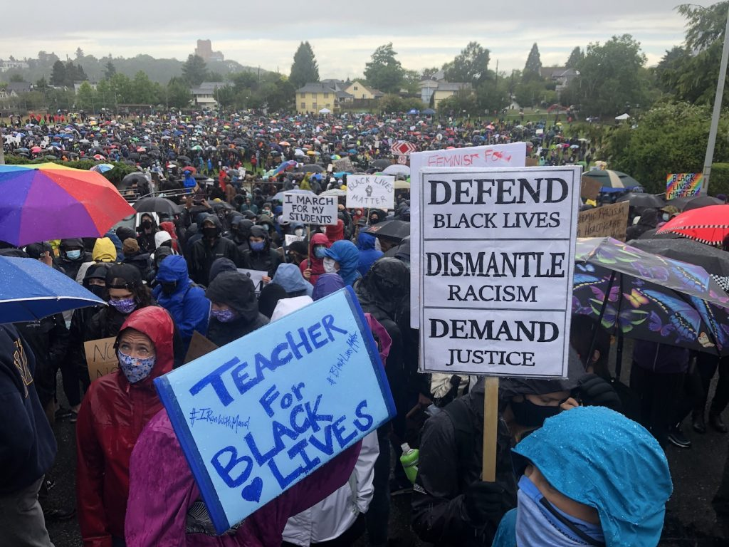 "Crowd of ten thousand people in a park with signs. Two in the foreground read ""Teacher for Black Lives"" and ""Defend Black Lives, Dismantle Racism, Demand Justice"""