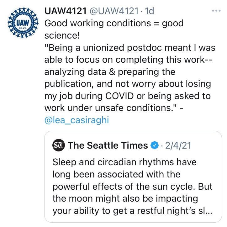"""Good working conditions = good science! """"Being a unionized postdoc meant I was able to focus on completing this work-- analyzing data & preparing the publication, and not worry about losing my job during COVID or being asked to work under unsafe conditions."""" - @lea_casiraghi"""