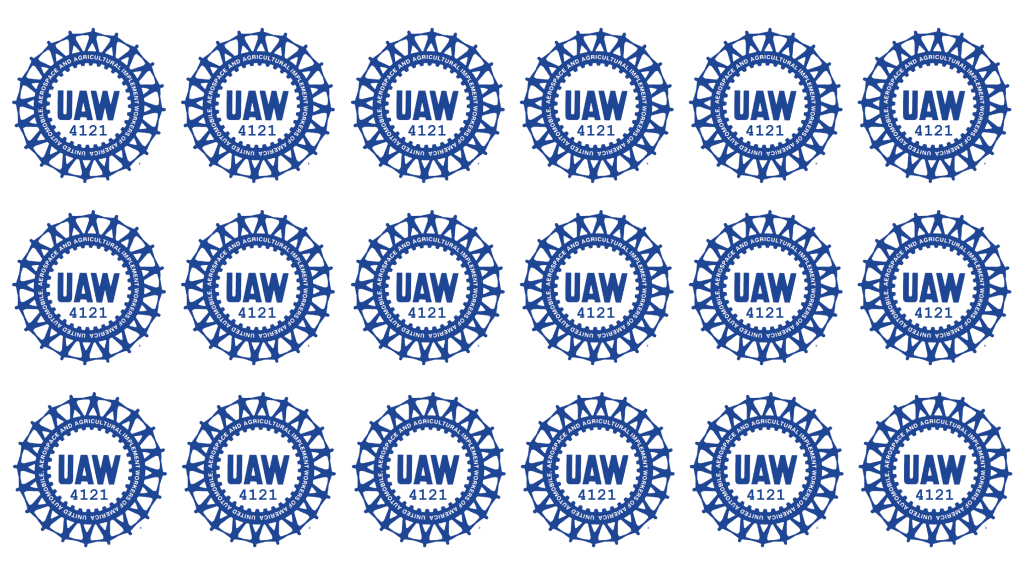 Zoom background with white background and blue UAW 4121 wheel logos in a 3x6 grid covering the entire background.
