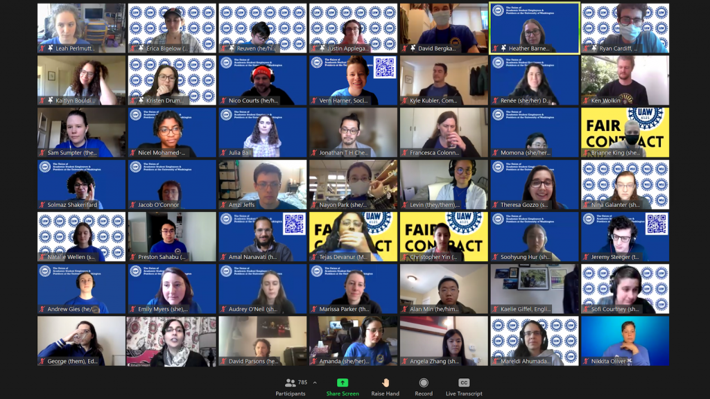 Screenshot of a zoom meeting with a 7x7 grid of zoom video tiles. Most participants have backgrounds with blue, yellow, and white UAW 4121 themes.